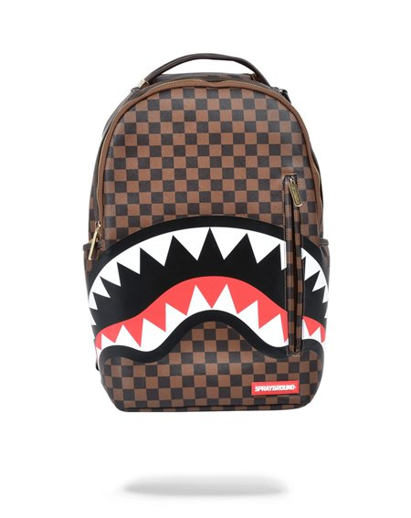 Sprayground Shark in Paris Gold Zipper Backpack