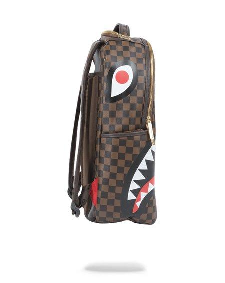 Sprayground Shark in Paris Gold Zipper Backpack