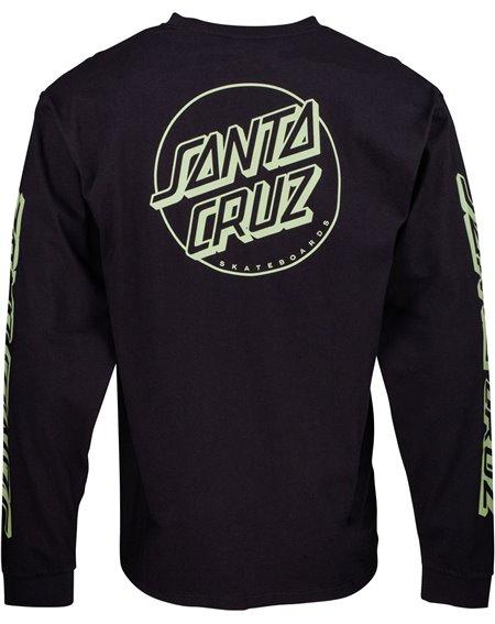 Santa Cruz Opus Dot Stripes Camisetas de Manga Larga para Hombre Black